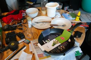 A very messy table, you should get rid of the things you do not need to ensure stress free moving