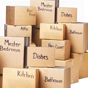 Many packed boxes - what to expect when hiring movers.