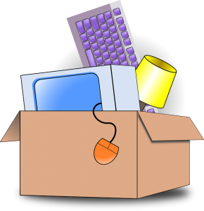 A moving box with office equipment