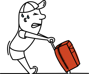 An illustration of a man having trouble to use a trolley.