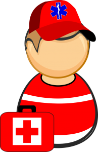 An illustration of a medical worker at the ambulance.
