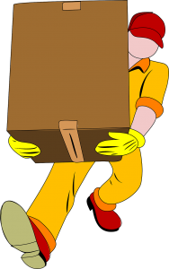 An illustration of a professional mover carrying a cardboard box.