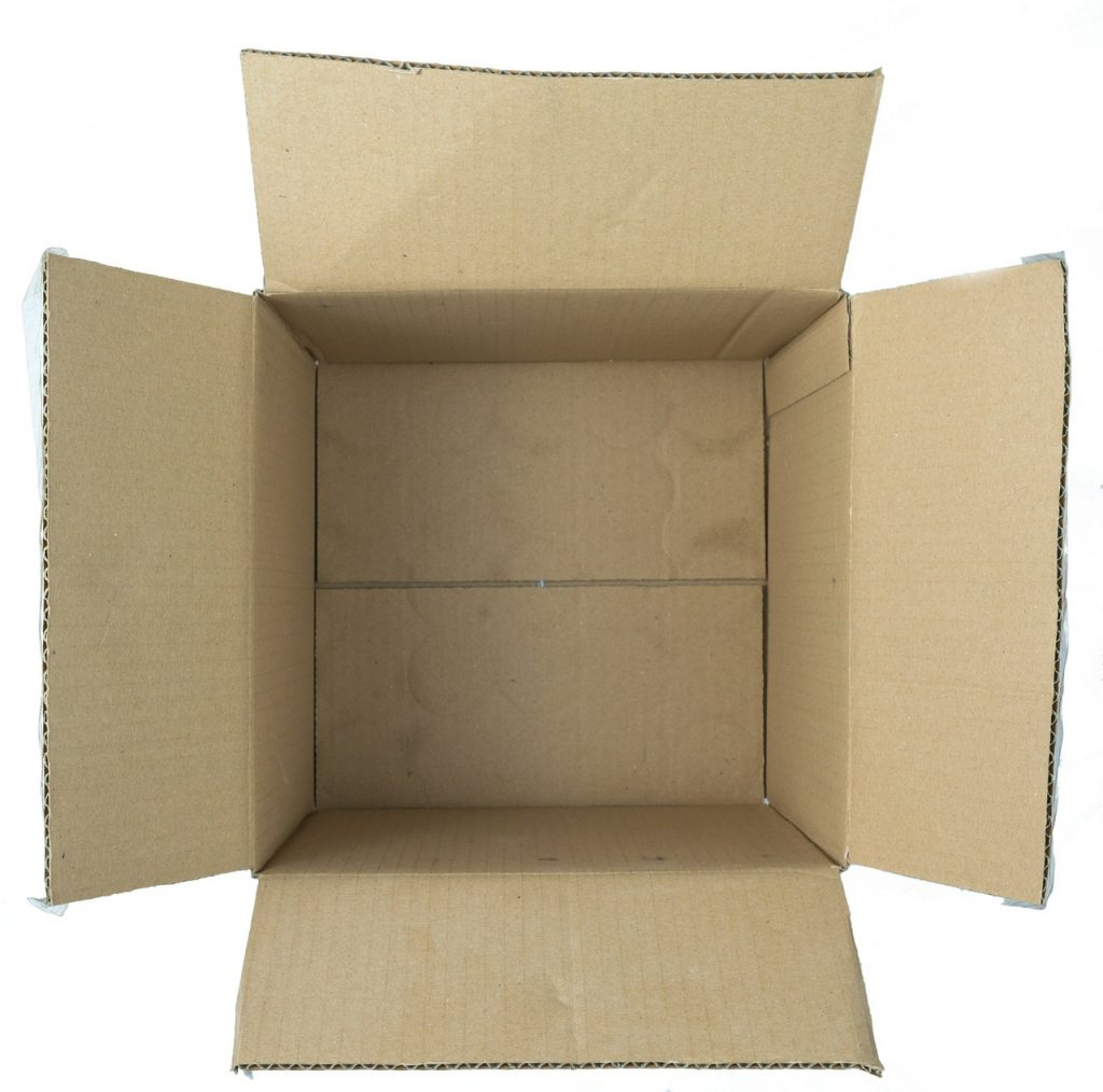 An open cardboard box you can use to secure your goods before loading a moving truck.
