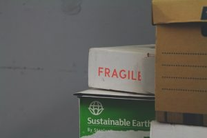 A box with the word fragile written on it.
