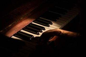 There is a close up picture of a person playing the piano.