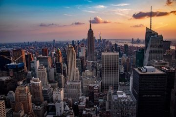 A sunset in New York City.