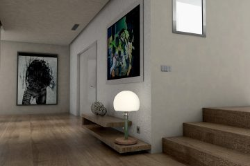 The interior of an apartment.