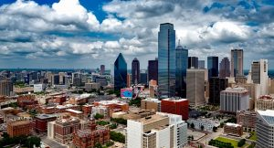 Tall builings of Dallas in broad daylight.